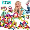 64 шт. большой Размеры с магнитной застёжкой строительные блоки игра на магнитах, Детские комплекты одежды, состоящие из магниты для детей ма...