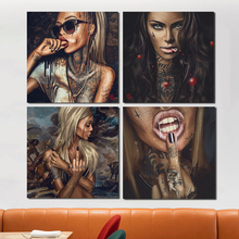 Sexy Girl Tattoo Graffiti Canvas Painting Print Living Room Home Decoration Modern Wall Art Oil Painting Poster Pictures Artwork