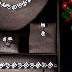 Image 3 - HIBRIDE 新スパークリング立方ジルコンジュエリーセットウェディング正方形 4 個ネックレスジュエリーブライダルセット女性ビジューマリアージュ N 1084
