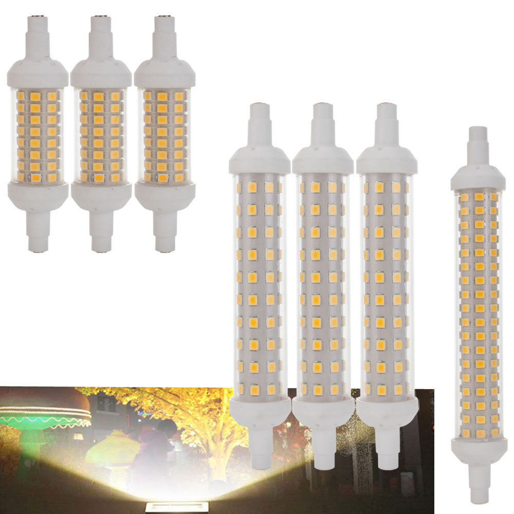 10PCS/Lot Dimmable <font><b>Bulb</b></font> R7S <font><b>LED</b></font> Corn 2835 SMD 78mm 118mm 135mm Light 10W 15W 20W Replace Halogen Lamp AC 220V Floodlight image