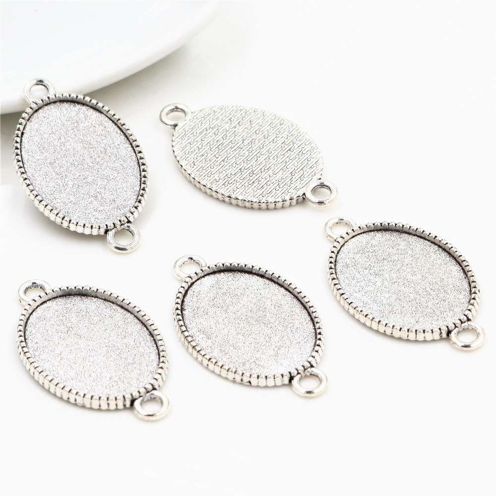 10pcs 18x25mm Inner Size Antique Silver Classic Style Cameo Cabochon Base Setting Charms Pendant Necklace Findings  (C2-18)