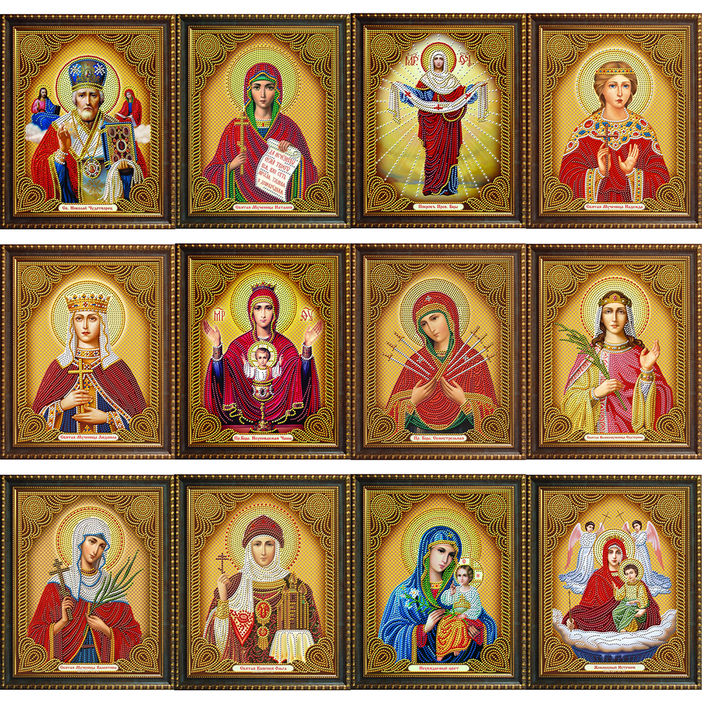 5D DIY Diamond Painting By Number Religion Icon Full Display Rhinestones Diamond Embroidery Cross Stitch Mosaic Home Decoration