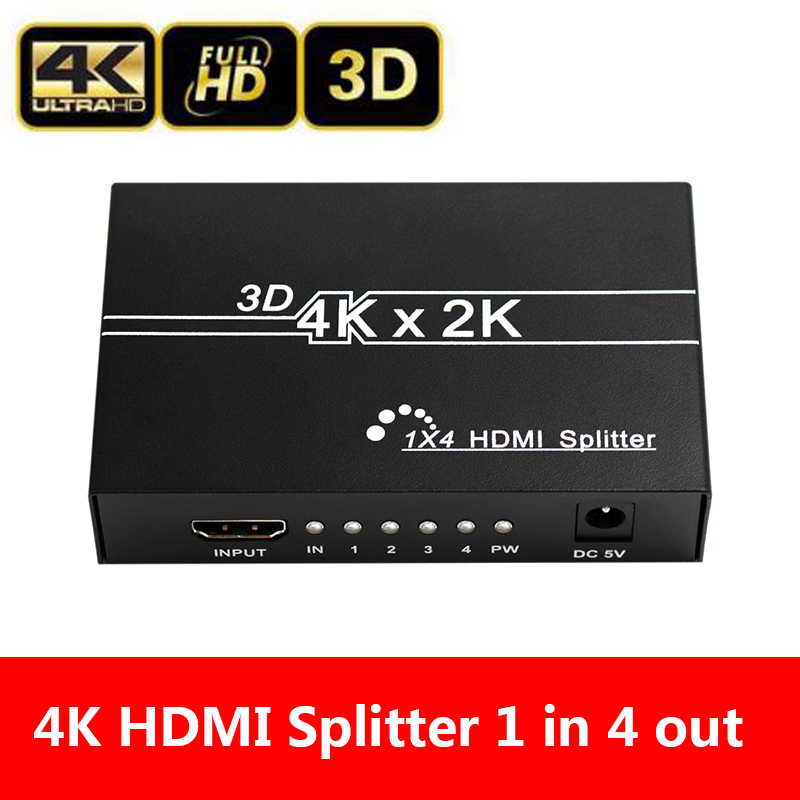 4K HDMI Splitter Full HD 1080p Video HDMI Switch Switcher 1X4 Dual Display For HDTV DVD PS3 Xbox