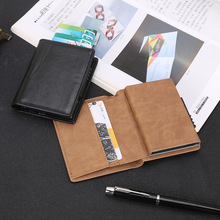 2021 Business ID Credit Card Holder Men and Women Metal RFID Vintage Aluminium Box PU Leather Card Wallet Note Carbon