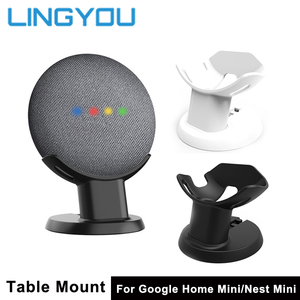 Image 1 - LINGYOU Mount Stand For Google Home Mini Nest Mini Voice Assistants Holder Kitchen Bedroom Study Audio Holder accessories