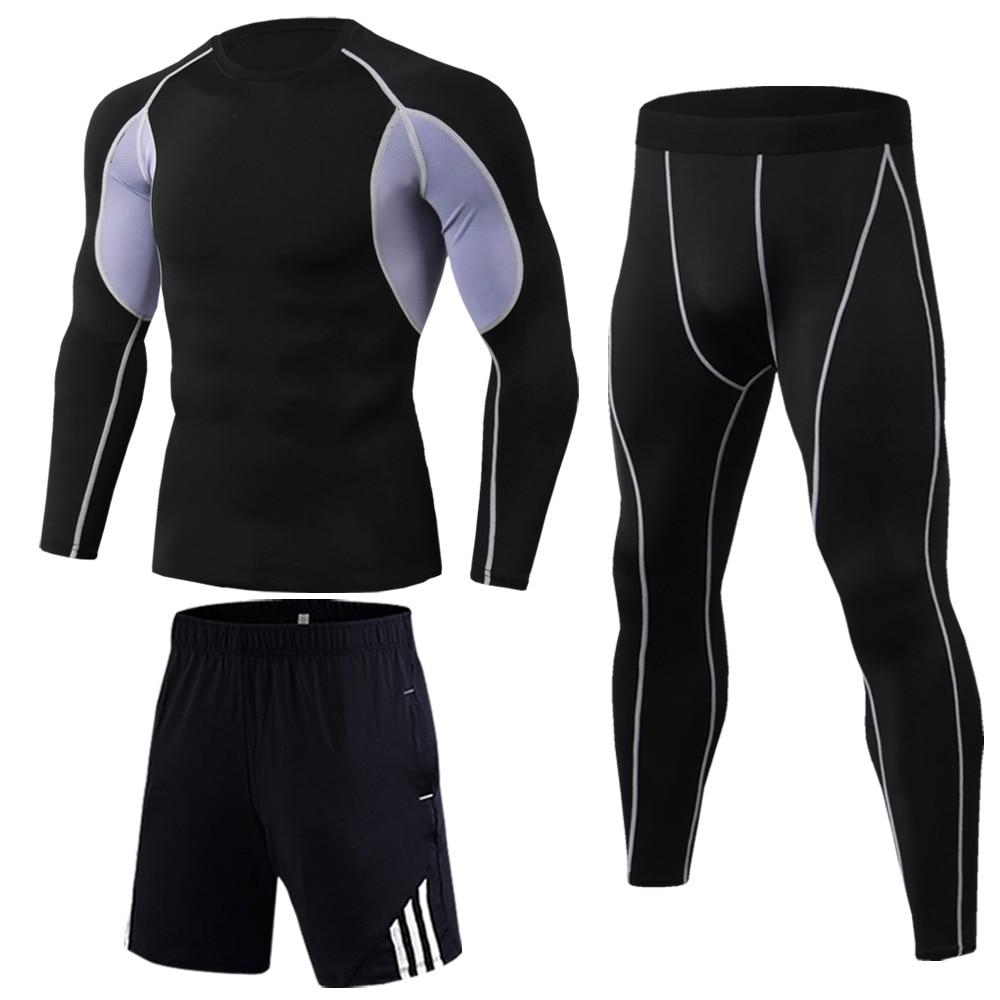 Thermal Underwear Men jogging skins Compression Long sleeve shirts Leggings Sports Sets bodybuilding track suit rashgard male