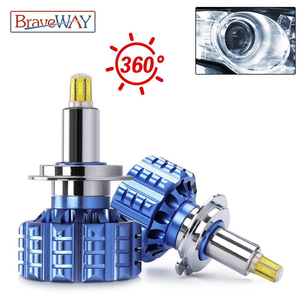BraveWAY ближнего и дальнего света Bi светодиодный объектив H1 H3 H7 светодиодный H11 HB3/9005 HB4/9006 светодиодный фар Canbus автомобильные лампочки для объе...