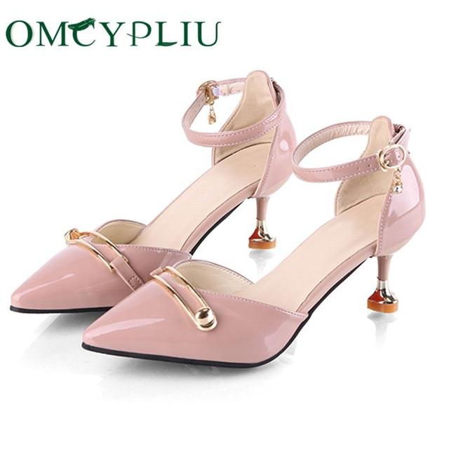 Sandalias de verano para mujer con tacones altos con correa de tobillo, zapatos de tacón de bloque, color rosa, 2020
