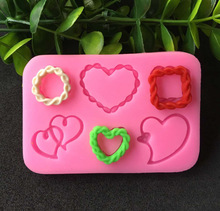 1PC New DIY cake mold love square double center chain sugar turning silica gel mold liquid silica gel mold silicone mold A073 silica aerogels