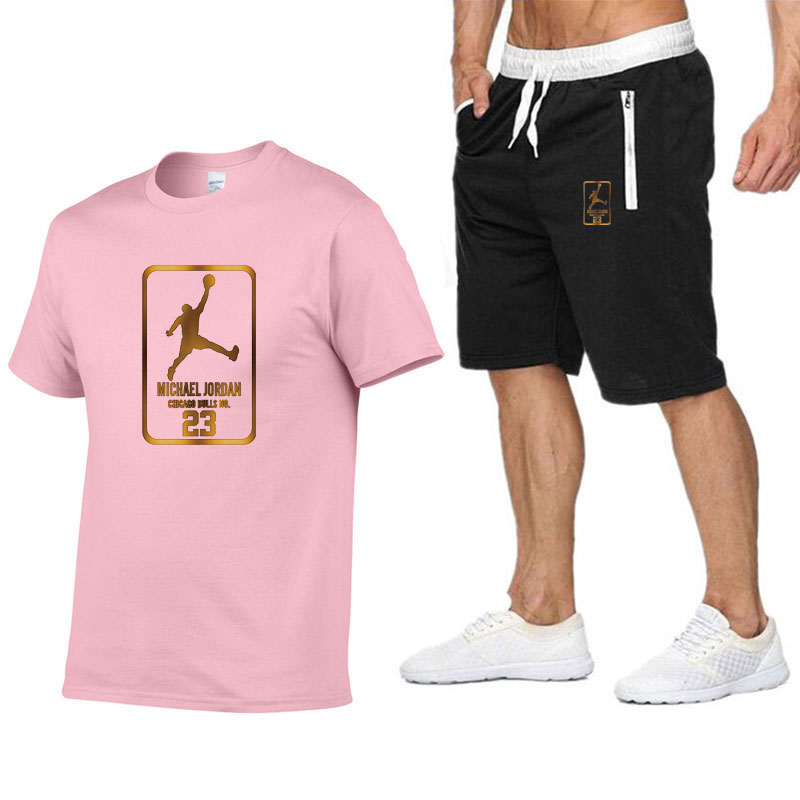 2piece suit men's <font><b>Jordan</b></font> <font><b>23</b></font> T-shirt <font><b>shorts</b></font> Summer <font><b>Short</b></font> Set sportswear men's sportswear running sportswear Basketball Jersey image