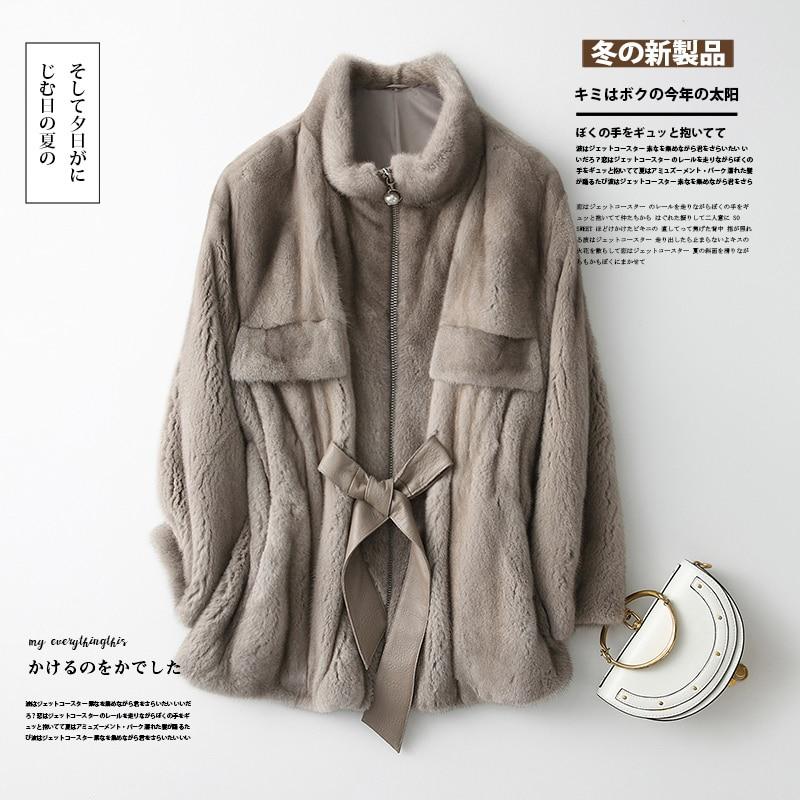 2020 Winter Real Mink Fur Coat Women Natural Fur Jacket Warm Real Mink Fur Coats For Women Korean Manteau Femme F12399 KJ3775