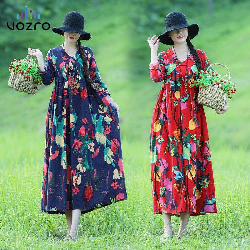 VOZRO 2019 Ethnic Style Size Women's Cotton And Linen Long-sleeved Long Sexy Winter Maxi Dress Women Vestido Dresses Vintage
