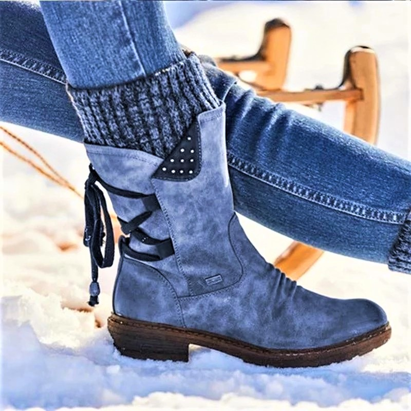 Lowest Price With Best Quality And Free Gift - Women Boots Winter Autumn Girls Flat Heel Boot Fashion Knitting Patchwork Shoes