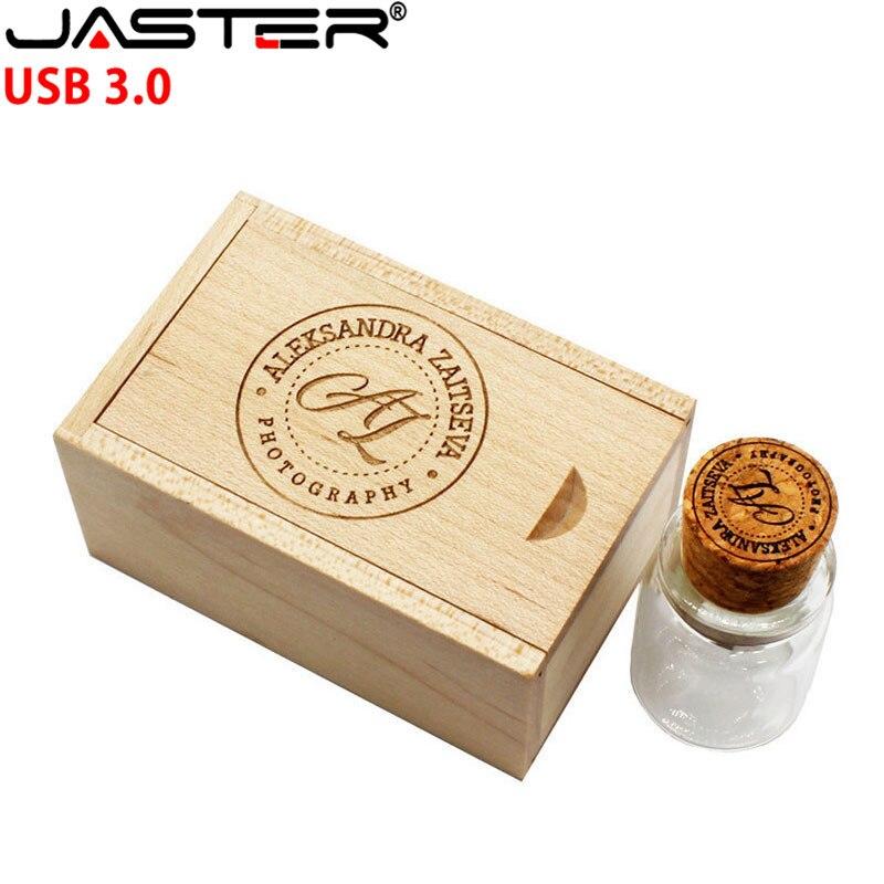 JASTER USB 3.0 Free Personalized Customization Glass Drift Bottle Cork USB Wooden Box Pendrive 8GB 16GB 32GB 64GB Wedding Gift