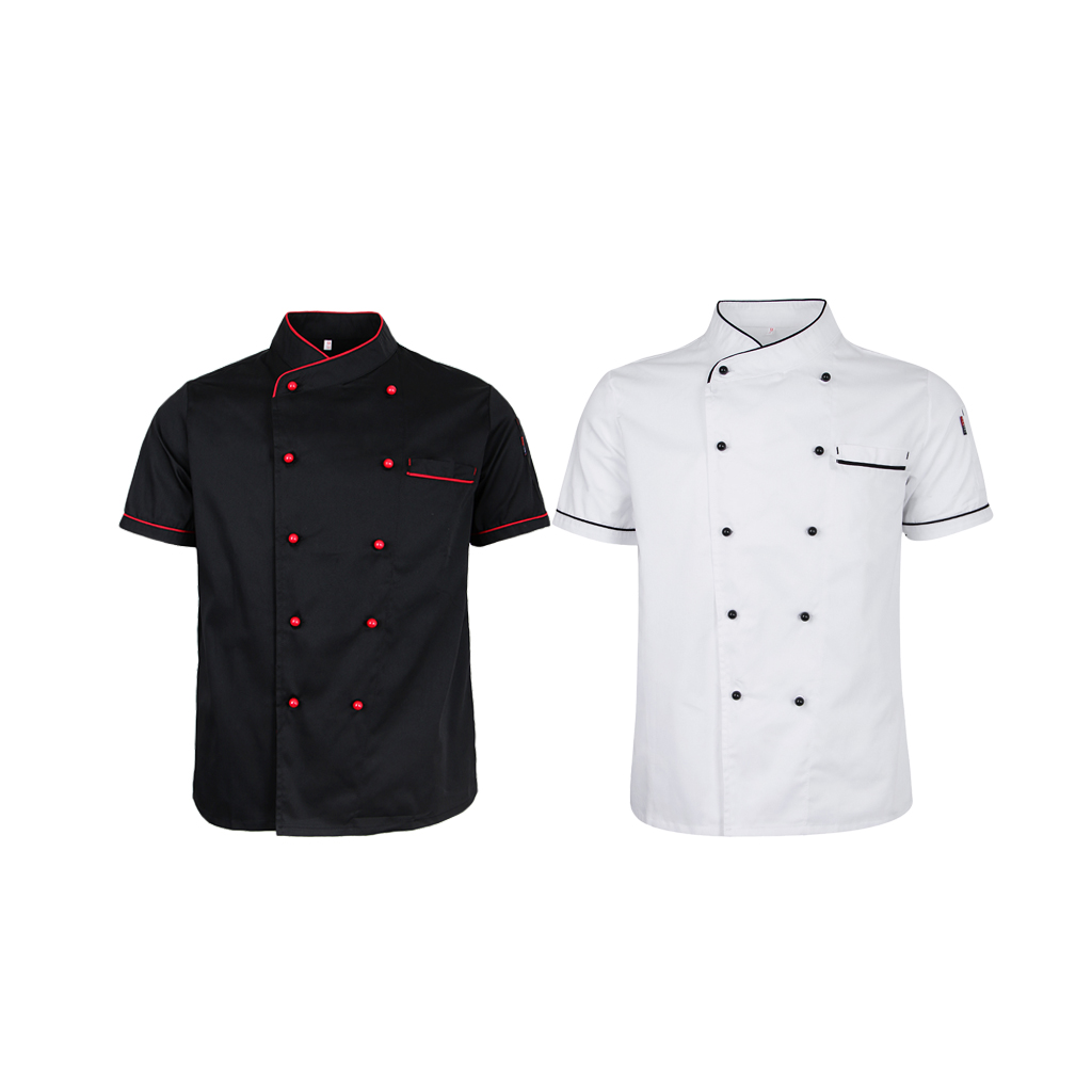 2 Pieces L Chef Uniform Jacket Short Sleeve Clothing For Hotel Kitchen For Cook
