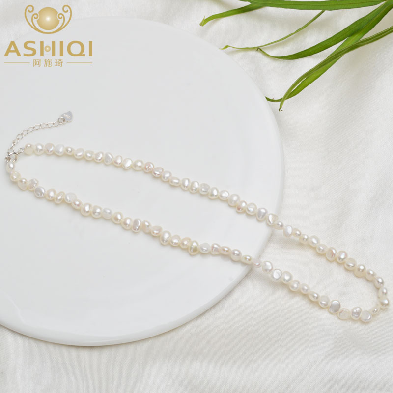 ASHIQI 4-5mm Natural Freshwater Pearl Choker Necklace Baroque pearl Jewelry for Women with 925 Silver Clasp Wholesale(China)
