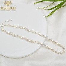 ASHIQI 4-5mm doğal tatlı su incisi gerdanlık kolye barok inci takı ile kadınlar için 925 gümüş toka