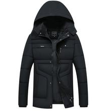 Winter Jacket Men Long Parka Thick Hat Coat Clothes Slim Dad