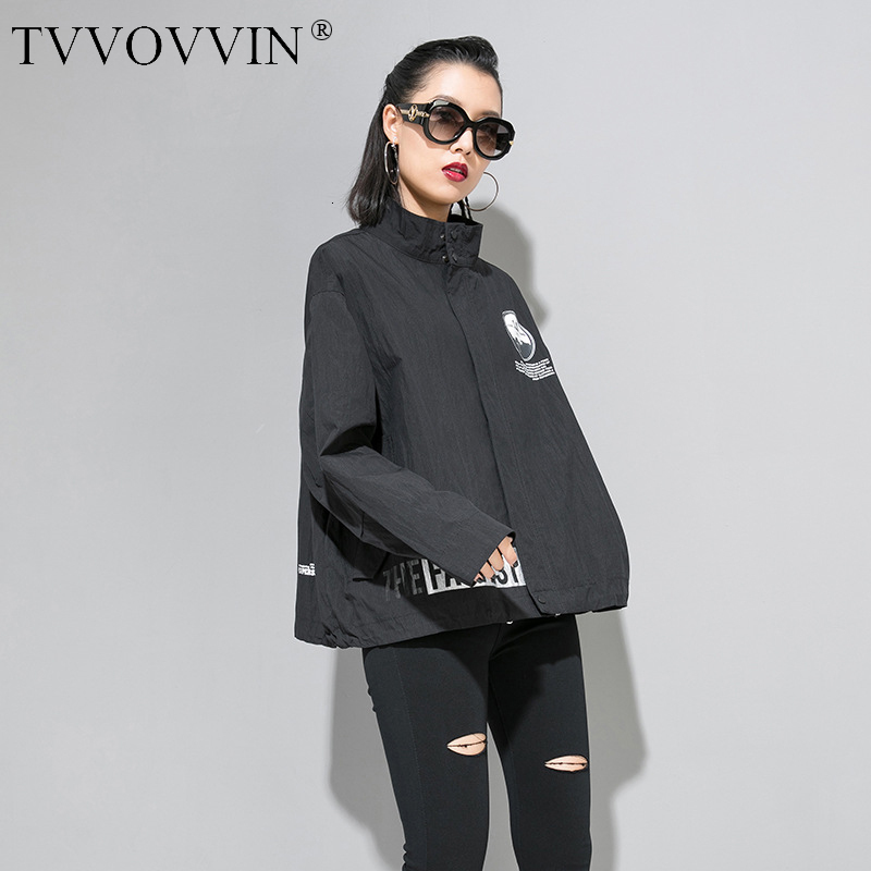 TVVOVVIN Loose Fit Black Print Big Size Oversize Jacket New Lapel Long Sleeve Women Coat Fashion Tide Autumn Winter 2019 F836
