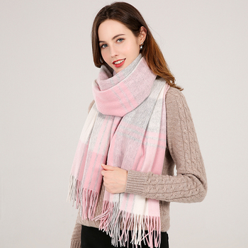 Plaid Wool Women Blanket Scarf With Tassel Winter Warm Shawl Wraps 100% Pure Wool Cashmere Scarves Foulard Femme Shawls Sjaal woman winter wool scarf blanket plaid oversize wraps with tassel ladies soft warm pashmina foulard femme big blanket scarves