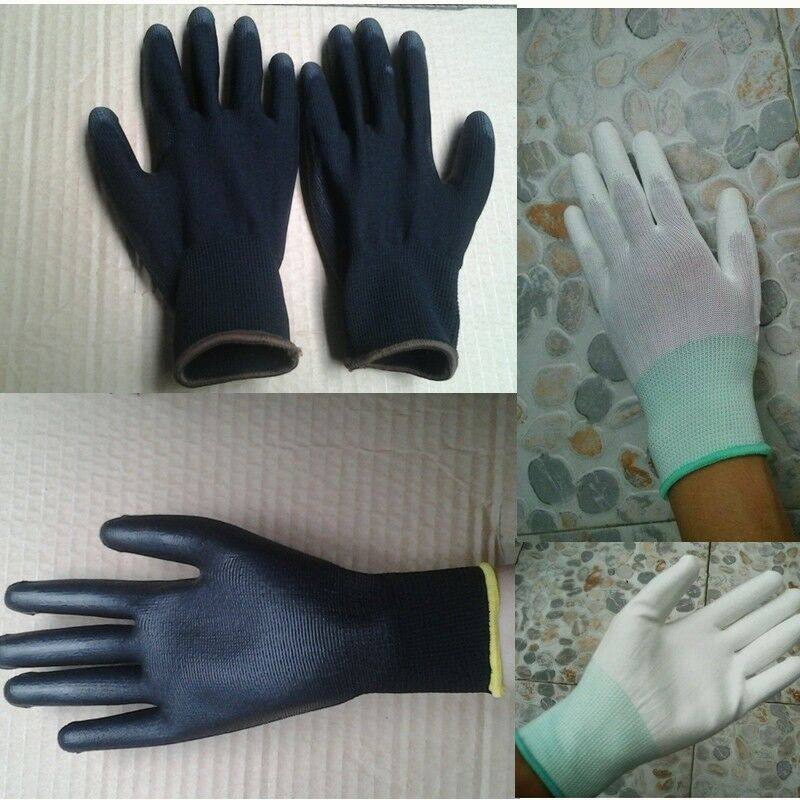 PU Nylon Waterproof Safety Coating Work Gloves Builders Palm Protect Anti-Slip Anti-Static Unisex Solid Tight Gloves