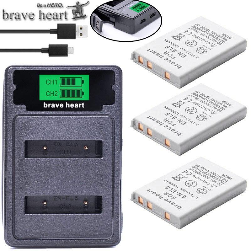 Bateria bateria EN-EL5 enel5 en el5 + carregador duplo para câmera nikon coolpix p80 p90 p100 p500 p510 p520 acessórios da câmera