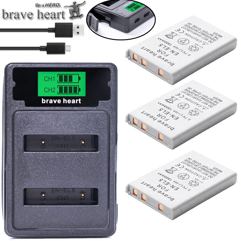 Bateria EN-EL5 ENEL5 En El5 Battery Pack + Dual Charger For Nikon Camera Coolpix P80 P90 P100 P500 P510 P520 Camera Accessories