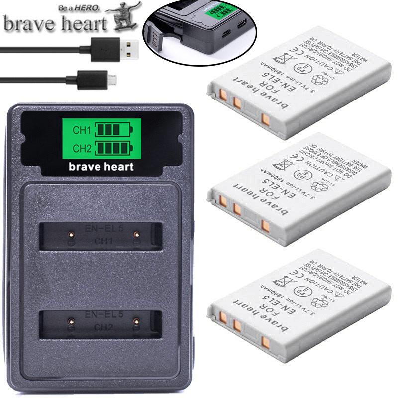 bateria EN-EL5 ENEL5 En El5 Battery pack   dual charger For Nikon Camera Coolpix P80 P90 P100 P500 P510 P520 camera accessories