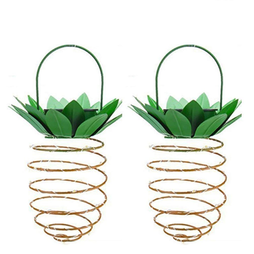 2Pcs/set Solar Garden Lights Pineapple Shape Outdoor Solar Hanging Light Wall Lamp Fairy Night Lights Iron Wire Art Waterproof