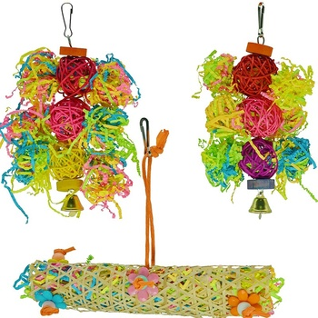 Promotion! Bird Toys Foraging Toys for Parrots 3 Pieces Hanging Parrot Toys Parakeet Toys with Bells for Cockatiel Cockatoo Budg image