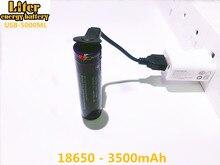 2 قطعة بطارية كمبيوتر محمول USB 18650 3500mAh 3.7V ليثيوم أيون بطارية Rechargebale USB 5000 مللي بطارية ليثيوم أيون + USB سلك