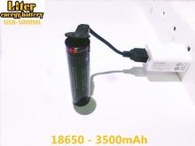 2 pièces batterie dordinateur portable USB 18650 3500mAh 3.7V Li ion batterie rechargeable USB 5000ML Li ion batterie + fil USB