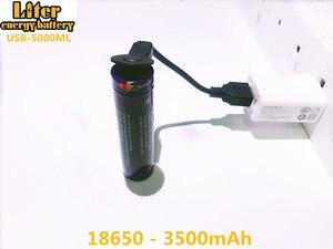 Image 1 - 2 pièces batterie dordinateur portable USB 18650 3500mAh 3.7V Li ion batterie rechargeable USB 5000ML Li ion batterie + fil USB