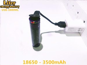 Image 1 - 2PCS Laptop battery USB 18650 3500mAh 3.7V Li ion Rechargebale battery USB 5000ML Li ion battery + USB wire