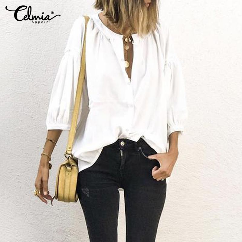 Summer Stylish Tops Celmia 2020 Women's Blouse Round Neck 3/4 Lantern Sleeve Casual Shirt Loose Buttons Solid Vintage Blusas 5XL
