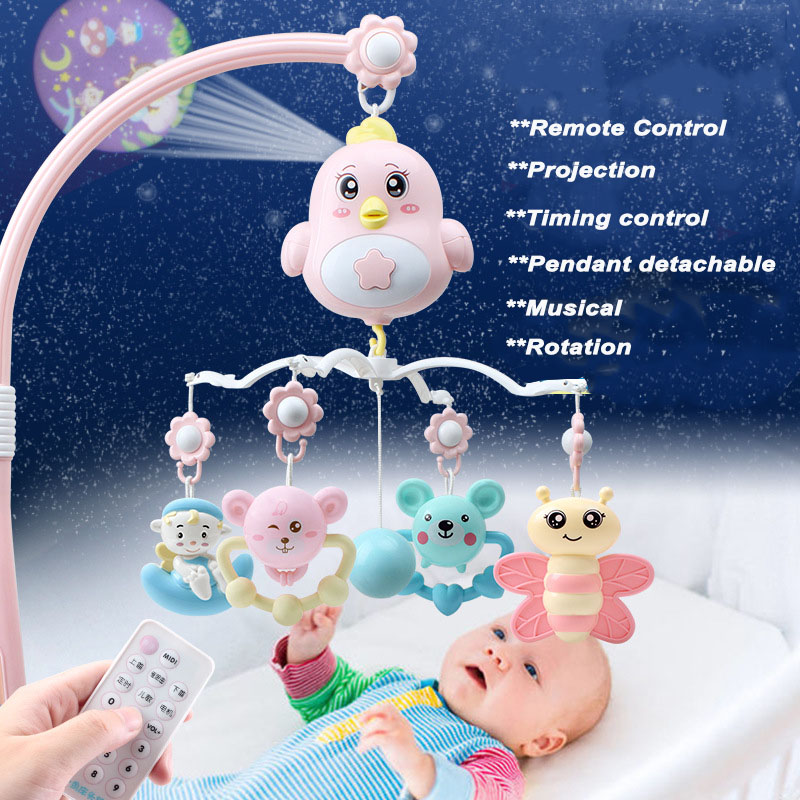 Baby Crib Mobile With Remote Controll Music Box Night Light Rotate Newborn Sleeping Bed Toys Infant Rattle Baby Toys