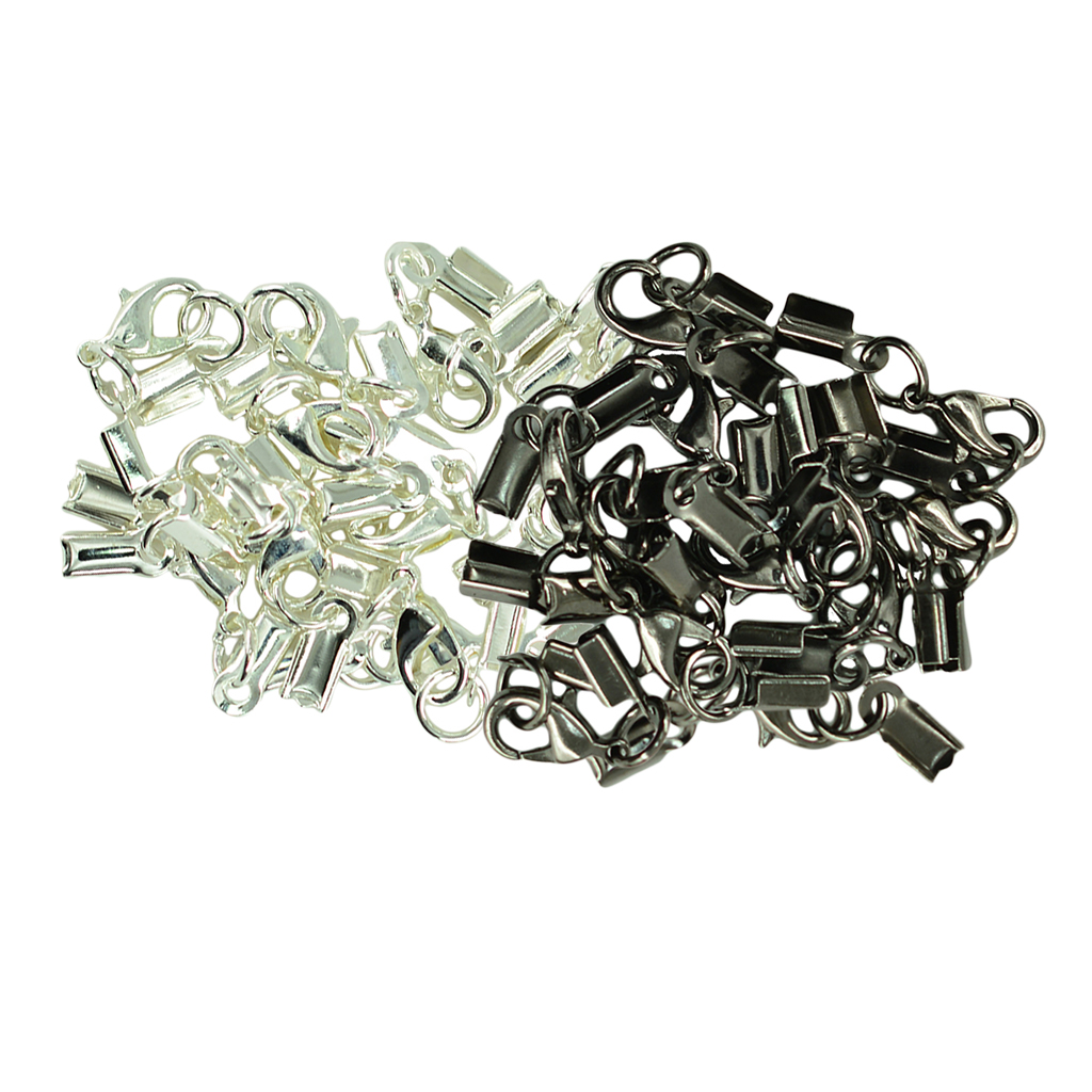 12 Sets Crimp Cord Ends Caps with Lobster Hook Jewelry Making Clasp Findings