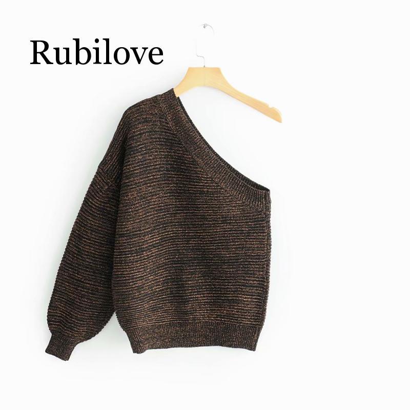 Rubilove European and American fashion one shoulder sweater
