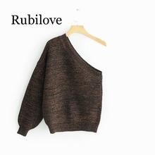 Rubilove European and American fashion one shoulder sweater