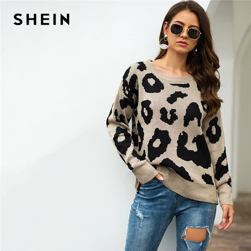 SHEIN Leopard Print Winter Casual Sweater Women 2019 Autumn Streetwear Round Neck Long Sleeve Solid Ladies Basic Sweaters