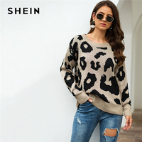 SHEIN Leopard Print Winter Casual Sweater Women 2019 Autumn Streetwear Round Neck Long Sleeve Solid Ladies Basic Sweaters