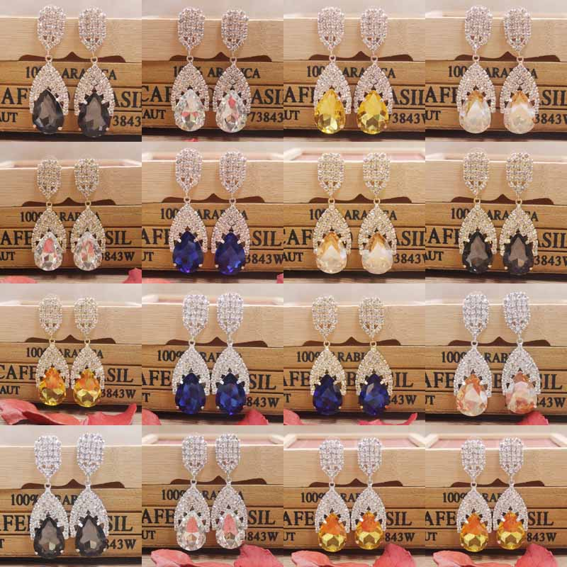 Zerong colorfu rhinestone dangling earring gold crystal silver shiny women wedding /party deoration