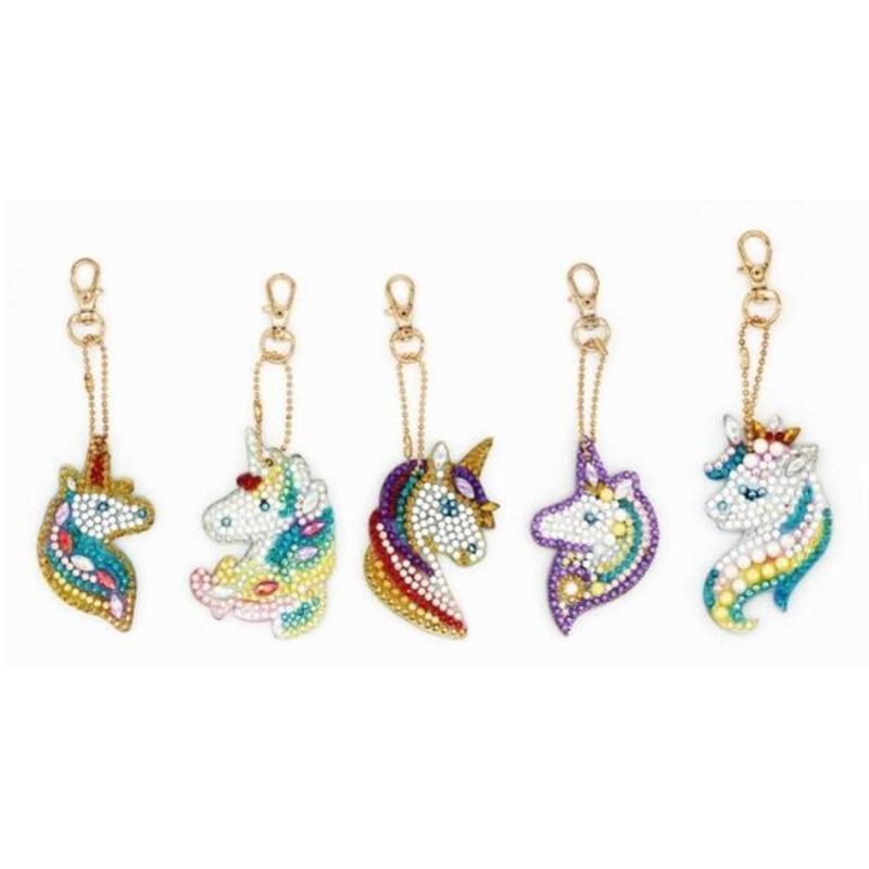 Llaveros de pintura de diamante en forma de taladro para mujer, llaveros de Animal unicornio, bolso para mujer, adorno, joyería, anillos de llave, regalo de Navidad