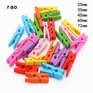 Made in China 25mm 35mm 45mm 60mm 72mm Color Wooden Clips Photo Clips Clothespin Craft Decoration Clips School Office clips(China)