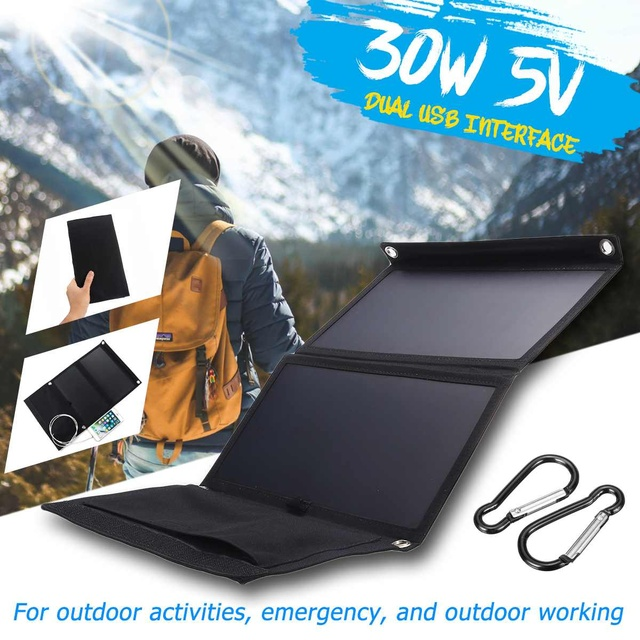Hot Sales Sunpower 30W 5V Foldable Solar Panel Charger Solar Power Bank Dual USB Camouflage Backpack Camping Hiking for phone 1
