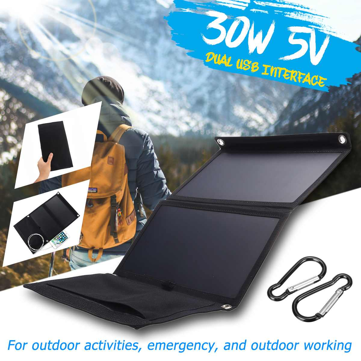 Hot Sales Sunpower 30W 5V Foldable Solar Panel Charger Solar Power Bank Dual USB Camouflage Backpack Camping Hiking for phone image