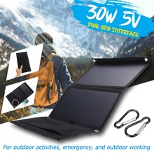 Hot sprzedaży Sunpower 30W 5V składana ładowarka słoneczna powerbank na energię słoneczną podwójny USB plecak we wzór maskujący Camping piesze wycieczki dla telefon tanie tanio LEORY Panel słoneczny Other Solar Cells