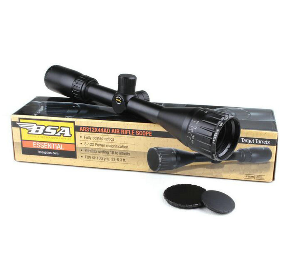 Tactical BSA Essential AR 3-12X44 AO Air Gun Mil-dot Rifle Scopes Hunting Shooting Riflescopes with Lens Cover image