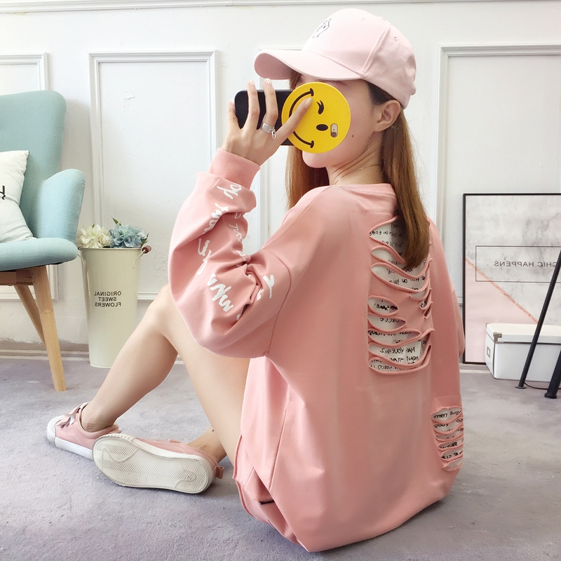 2019 autumn new Korean version of the XL T-shirt women's thin section long-sleeved loose hole wild T-shirt shirt women 74