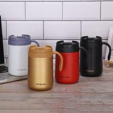 Tasses de café thermiques de l'acier inoxydable 350/500ML Double avec la poignée Thermos fiole tasse de thé de bureau de voyage avec la bouteille d'eau de boisson de couvercle